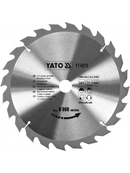 Диск пильный по дереву 300х30х3.2x2.2 мм, 24 зубца, R. P. M до 6000 1/мин Yato YT-6075