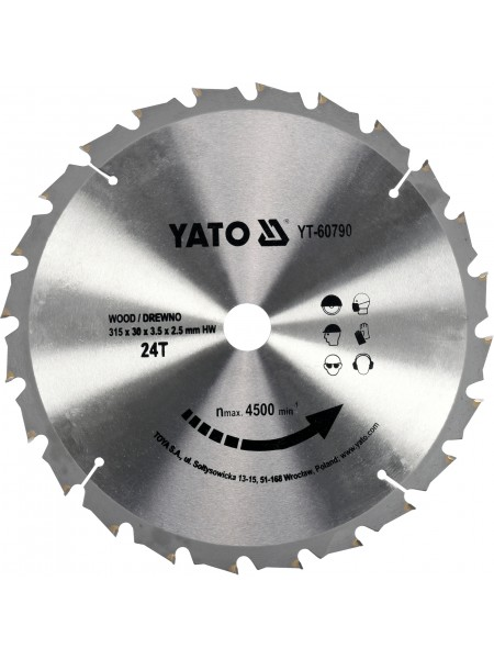 Диск пильный по дереву 315х30х3.5х2.5 мм, 24 зубца, R. P. M до 4500 1/мин Yato YT-60790