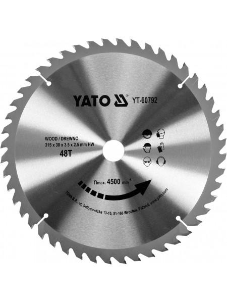 Диск пильный по дереву 315х30х3.5х2.5 мм, 48 зубцов, R. P. M до 4500 1/мин Yato YT-60792