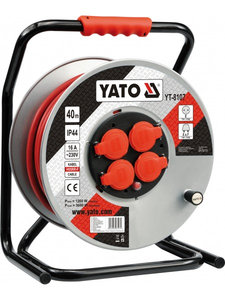 Удлинитель с заземлением на катушке 40 метров 3х2,5 мм² Yato YT-8107