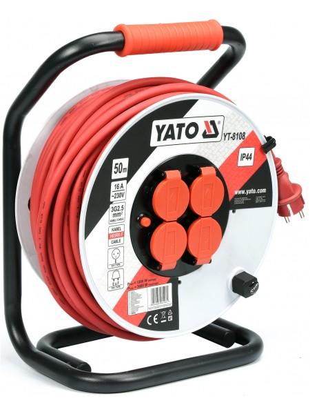 Удлинитель на катушке с заземлением 50 метров 3х2,5 мм² Yato YT-8108