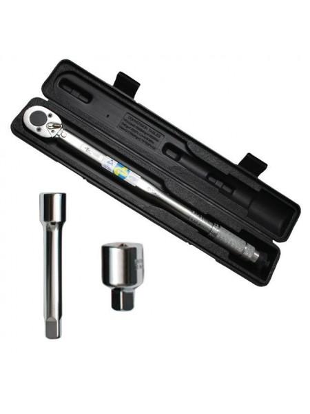 Динамометрический ключ 1/2 переходник 1/2х3/8, удлинитель 125мм 1/2 28-210 NM, INTERTOOL XT-9007