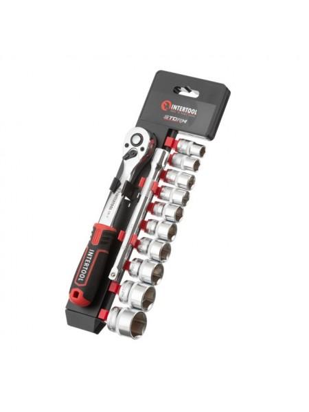 """Набор головок 3/8"""" 10-24 мм., удлинитель, рукоятка с храповым механизмом 72 зуба, 12ед., Cr-V STORM INTERTOOL ET-8013"""