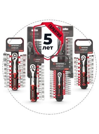 """Набор головок 1/4"""" 4-14 мм., TORX, PH, HEX, FD, удлинитель, рукоятка с храповым механизмом 72 зуба, 28ед., Cr-V STORM INTERTOOL ET-8018"""
