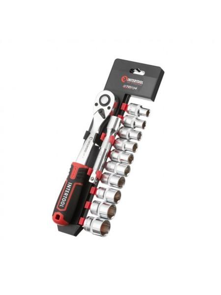 """Набор головок 1/2"""" 10-24 мм., удлинитель, рукоятка с храповым механизмом 72 зуба, 12ед., Cr-V STORM INTERTOOL ET-8014"""