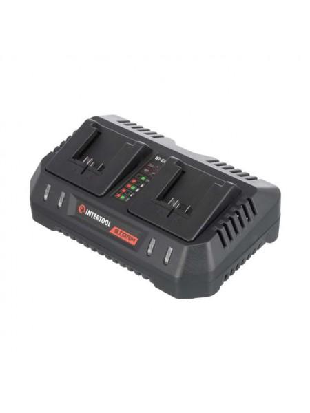 Устройство зарядное для аккумуляторов литий-ион 20 В, ток заряда 4.0+4.0 А, два теминала зарядки INTERTOOL WT-0346