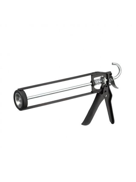 """Пистолет для выдавливания герметиков рамообразный усиленный, 225мм, """"скелет"""" INTERTOOL HT-0030"""
