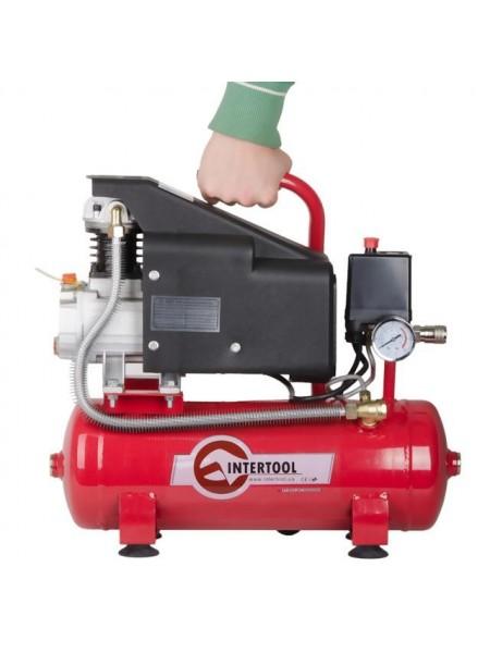Компрессор 9 л, 0.75 кВт, 220 В, 8 атм, 160 л/мин INTERTOOL PT-0002