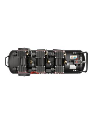 Компрессор 100 л, 3x1.1кВт, 220В, 8атм, 480 л/мин, 1400 об/мин, малошумный, безмасляный, 6 цилиндров INTERTOOL PT-0028