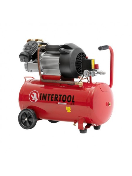 Компрессор 100 л, 3 кВт, 220 В, 8 атм, 420 л/мин, 2 цилиндра INTERTOOL PT-0008