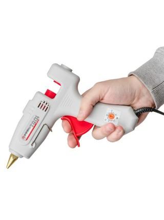 Пистолет клеевой 120(360)Вт, 230В, 100-220°C под стержни 10.8-11.5мм, 13-30 г/мин., рег. темп. INTERTOOL RT-1107