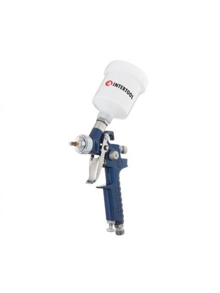 Краскопульт пневматический HVLP MINI, форсунка 1.0мм, верхний пластиковый бачок 125мл., 3бар INTERTOOL PT-0121