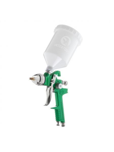 Краскопульт пневматический HVLP, форсунка 1.4мм, верхний пластиковый бачок 600мл, 3бар INTERTOOL PT-0118