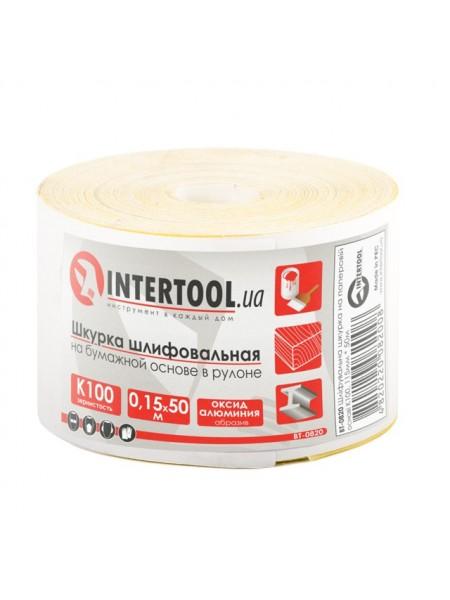 Шлифовальная шкурка на бумажной основе К100, 115мм*50м. INTERTOOL BT-0820