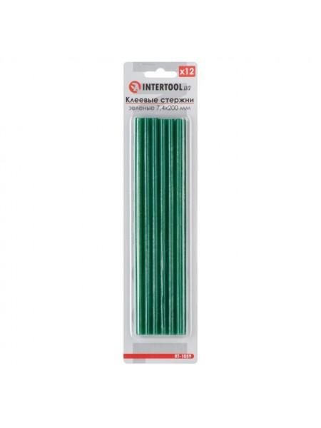Комплект зеленых клеевых стержней 7.4мм*200мм, 12шт. INTERTOOL RT-1059