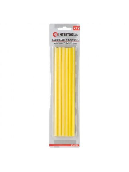 Комплект желтых клеевых стержней 7.4мм*200мм, 12шт. INTERTOOL RT-1051