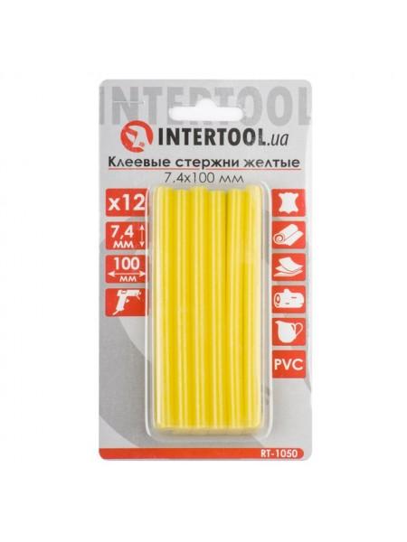 Комплект желтых клеевых стержней 7.4мм*100мм, 12шт. INTERTOOL RT-1050