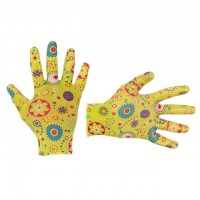 """Перчатки садовые с нитриловым покрытием 8"""" желтые INTERTOOL SP-0165"""