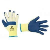 Перчатки рабочие стекольщика ( каменщика ) синие трикотажные с латексным покрытием INTERTOOL SP-0003