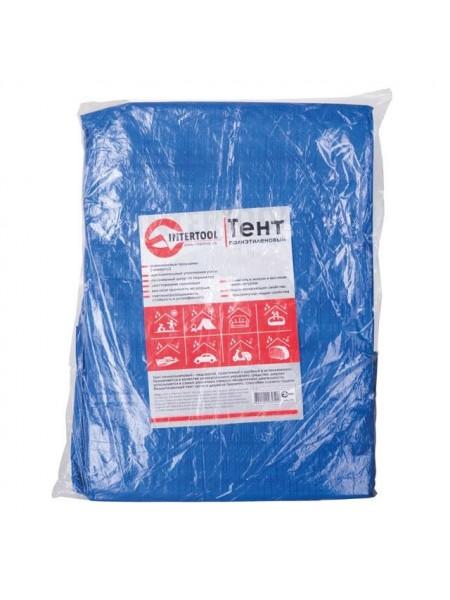 Тент синий, полиэтиленовый, плотностью 65г/м², с проушинами и двусторонней ламинацией, 6*8м Intertool AB-0608