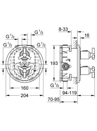 Внешняя часть термостатического смесителя для душа Grohe Atrio 19394000 для встроенной части 35500000