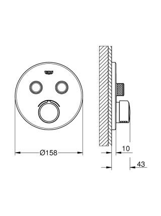 Внешняя часть термостатического смесителя на 2 выхода Grohe SmartControl 29145000