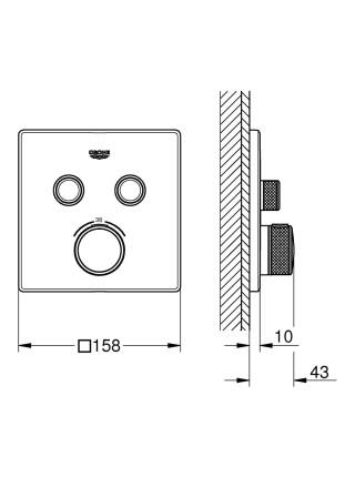 Внешняя часть термостатического смесителя на 2 выхода Grohe Grohtherm SmartControl 29124000
