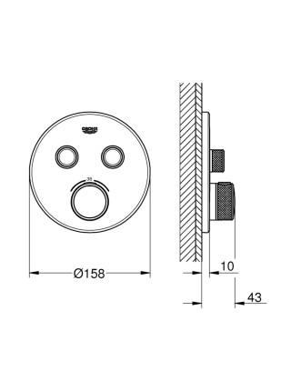 Внешняя часть термостатического смесителя на 2 выхода Grohe SmartControl 29119000