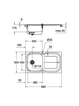 Кухонная мойка GroheEXSink K300 31563SD0