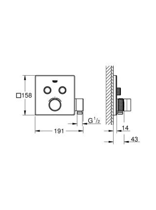 Внешняя часть термостатического смесителя на 2 выхода с держателем Grohe Grohtherm SmartControl 29125000