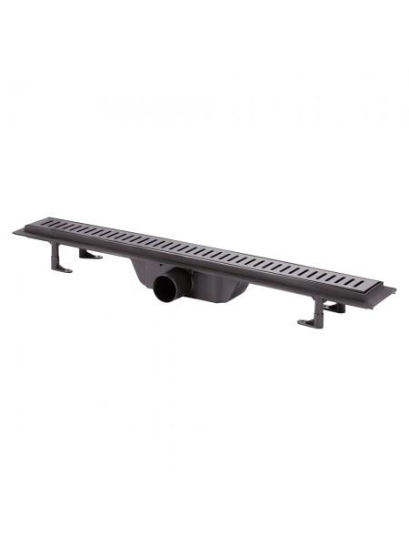 Трап линейный Q-tap Dry FF304-700MBLA с нержавеющей решеткой 700х73