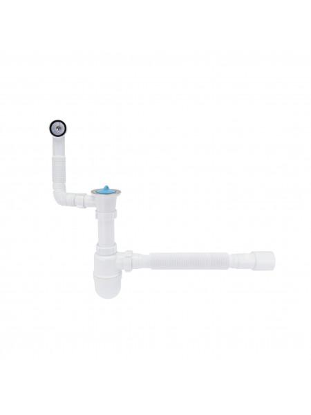 Сифон для раковины Lidz (WHI) 60 08 E004 00 с круглым переливом (выход 50 мм)
