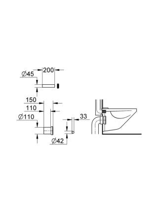 Комплект впускного и смывного гарнитура Grohe 37104K00 для подвесного унитаза