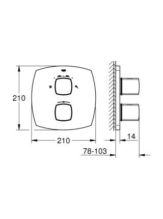 Внешняя часть термостатического смесителя для душа со встроенным переключателем на 2 положения Grohe Grandera 19937000