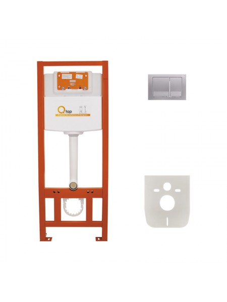 Инсталляция для унитаза Q-tap Nest комплект 4 в 1 с панелью смыва PL M06SAT