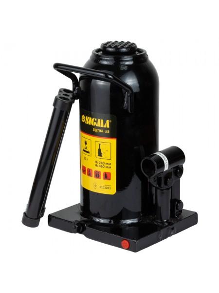 Домкрат гидравлический бутылочный 20т h242-452мм, Sigma 6101201