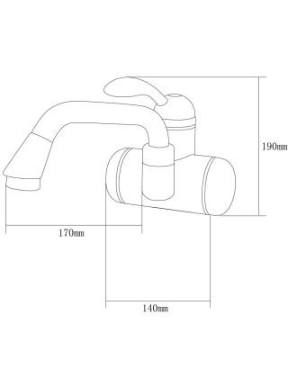 Кран-водонагреватель проточный LZ 3.0кВт 0,4-5бар для раковины гусак изогнутый длинный настенный AQUATICA (LZ-6A211W)