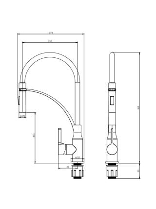 Смеситель OMODEO Ø35 для кухни излив силиконовый на гайке CORSO (EC-4B526C)