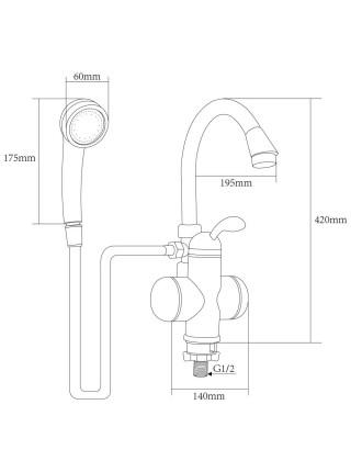 Кран-водонагреватель проточный LZ 3.0кВт 0,4-5бар для ванны гусак ухо на гайке AQUATICA (LZ-6C111W)