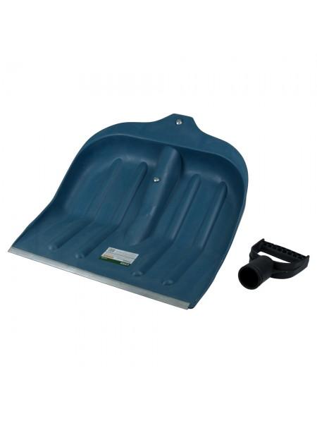 Лопата для уборки снега пластиковая с алюминиевой планкой 435×470×10мм (чёрная) Grad (5049465)