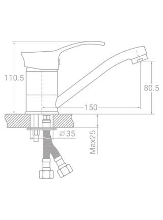 Смеситель SE Ø40 для кухни гусак прямой 150мм на шпильке TAU (SE-2B145C)