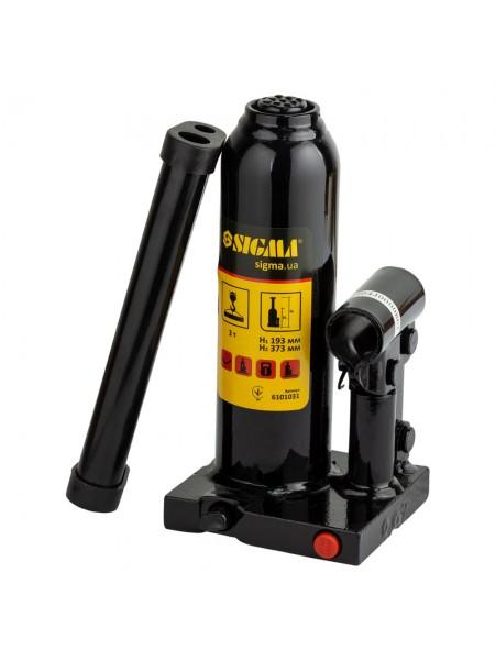 Домкрат гидравлический бутылочный 3т h194-372мм, Sigma 6101031