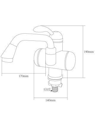 Кран-водонагреватель проточный LZ 3.0кВт 0,4-5бар для раковины гусак изогнутый длинный на гайке AQUATICA (LZ-5A211W)