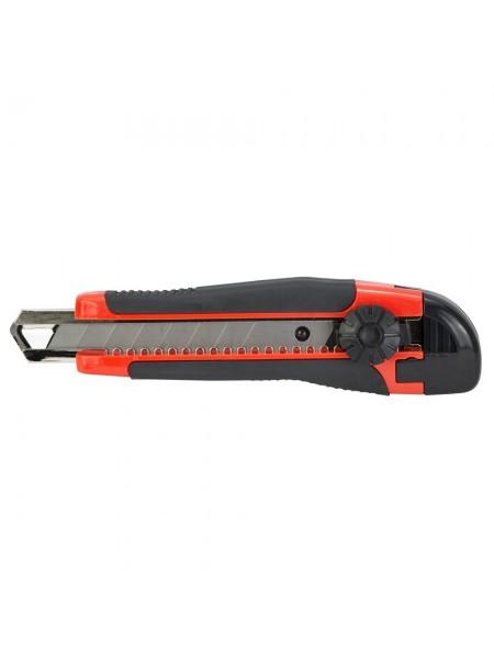 Нож строительный (пластик/резина корпус) лезвие 18мм винтовой замок Sigma (8211101)