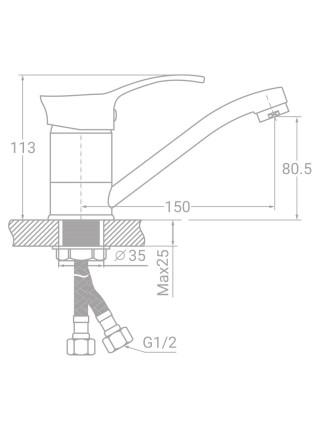 Смеситель SE Ø40 для кухни гусак прямой 150мм на гайке TAU (SE-1B145C)