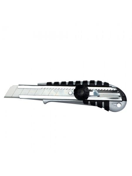 Нож строительный (корпус метал/резина) лезвие 18мм винтовой замок Sigma (8211051)