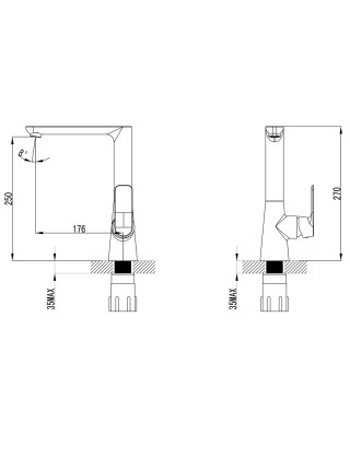 Смеситель BRACCIANO Ø35 для кухни Г-излив на гайке CORSO (CF-4B236C) (9617100)