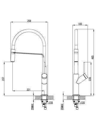 Смеситель ADDA Ø25 для кухни излив силиконовый черный на гайке CORSO (EB-4B520C) (9635110)