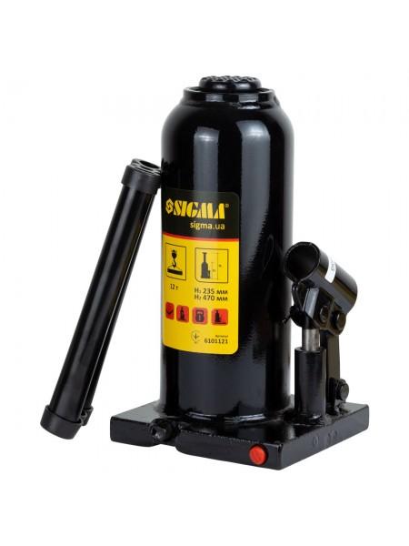 Домкрат гидравлический бутылочный 12т h230-465мм, Sigma 6101121