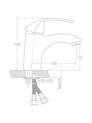 Смеситель SD Ø40 для раковины литой на шпильке TAU (SD-2A143C)